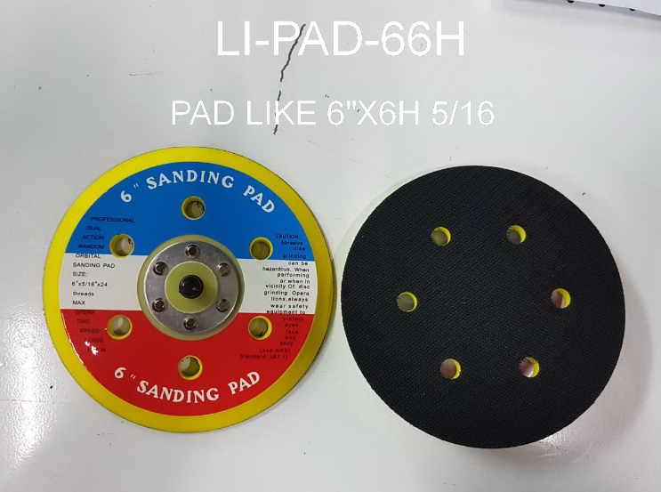 แป้นจับกระดาษทรายกลม สักหลาด 6นิ้ว 6รู  LI-PAD-66H