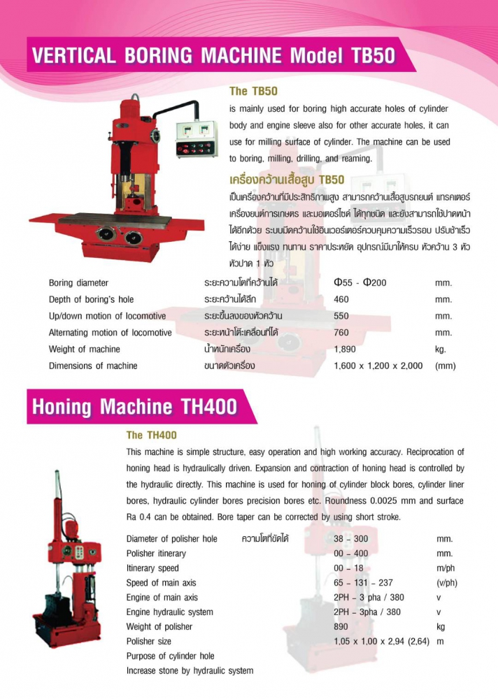 VERTICAL BORINGMACHINE MODEL TB50